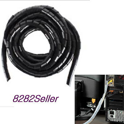 5M 15FT Black 10mm Outer Dia Spiral Cable Wire Wrap Tube Computer Manage Clear