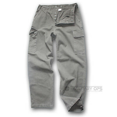German Army Stle Moleskin Trousers Cotton Work Wear Combat Pants Grey / Green