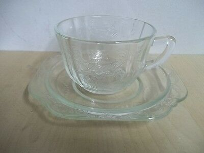 Vintage Clear Depression Glass Cup And Saucer Madrid Pattern Federal Glass