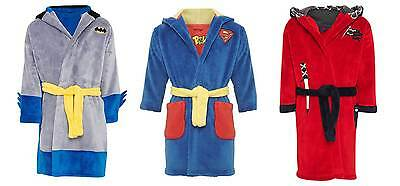 M&S soft fleece boys dressing gown superman batman knight NEW age 1-6 bathrobe