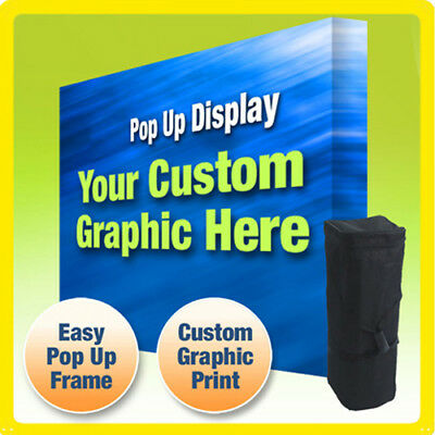 10' CUSTOM TENSION FABRIC VELCRO STRAIGHT POP UP TRADE SHOW DISPLAY BOOTH