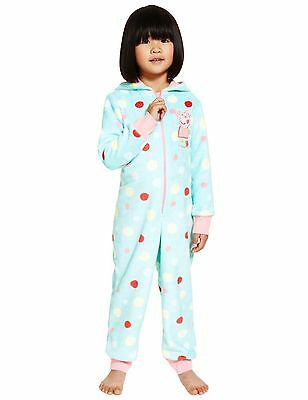 M&S soft fleece onesie, all in one 'Peppa Pig' with hood, ages 2 - 6 NEW