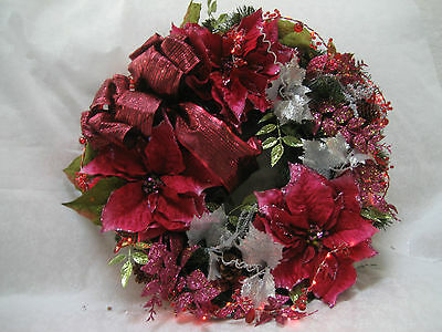 """22"""" CHRISTMAS RED/PINK & SILVER WREATH W COLIN BEADED GARLAND LIGHTS - NEW"""