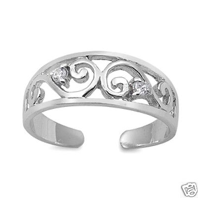 Adjustable Swirl with CZ Toe Ring Sterling Silver 925 Fashion Beach Jewelry Gift
