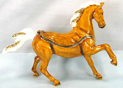 Golden Arabian Horse Jeweled Pewter Trinket or Jewelry Box Equestrian
