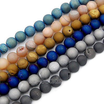 Metallic Titanium Coated Natural Druzy Quartz Agate Round Beads 6 8 10 12 14mm