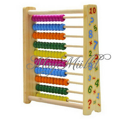 Wooden Abacus Toys Math Learning Teaching Tool Back Magnet Board Kids