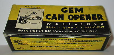 40's GEM CAN OPENER VINTAGE KITCHEN GREEN HANDLE RELIABLE MFG CO MINT IN BOX NOS