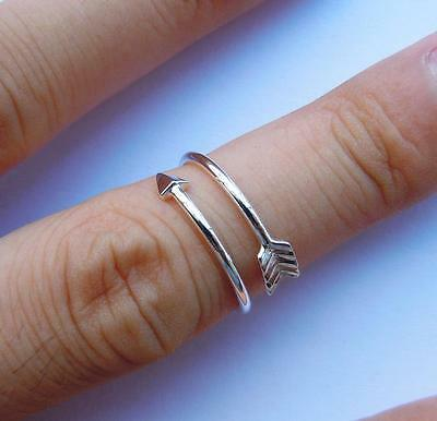 Stunning 925 Sterling Silver Classic Shiny Arrow Heart Love Midi Ring Sizes 4-10