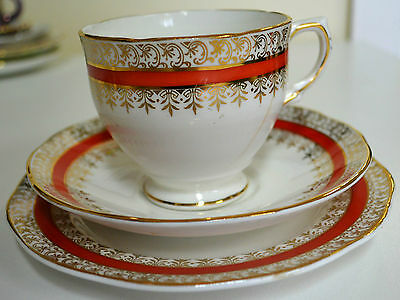 Salisbury Bone China Floral Tea Cup, Saucer & Plate Trio, Made in England