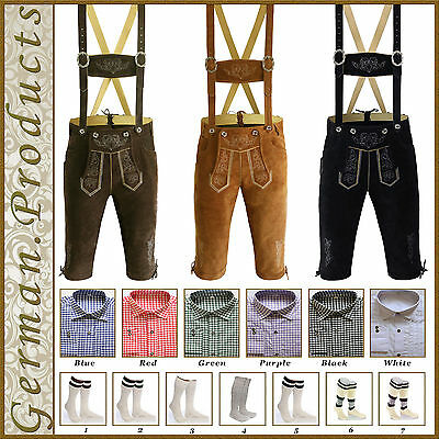 German Bavarian Trachten Oktoberfest Men's Wear Kniebund Lederhosen Package Set