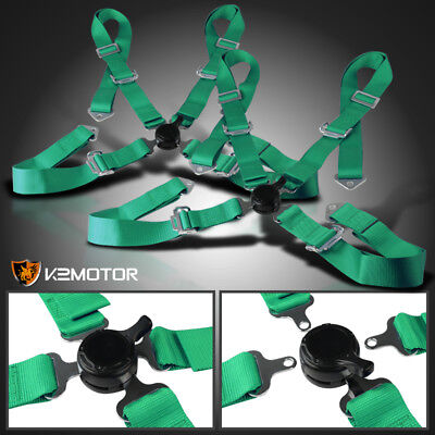 Pair Of 4Pt 4 Point Camlock Racing Seat Belts Harness Green