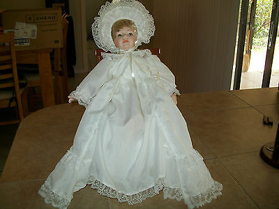 """14"""" Christening baptism doll open mouth w/2 teeth showing Kingstate Dollcrafters"""