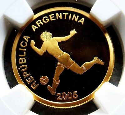 2005 Gold Argentina 10 Pesos World Soccer Championship Ngc Proof 69 Ultra Cameo