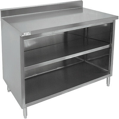 "All S/S 4"" Rear Upturn enclosed work Table Cabinet No Door 24""x60""x35"" CTN-P2460"
