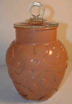 1960's Hazel Atlas Gingerbread Cookie Jar Mauve Beige Clear Lid Great Shape
