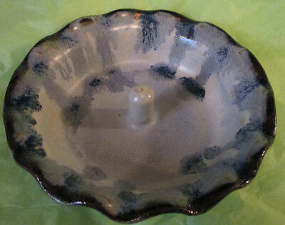 Collectible Blue Pottery-Scalloped Edge-Bowl/Trinket Dish/Kitchen Home Decor/Art
