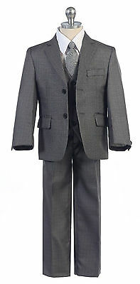 New Gray Suit Boys Toddler Teen 5-PC Wedding Formal Party Tuxedo w/vest sz 2-20