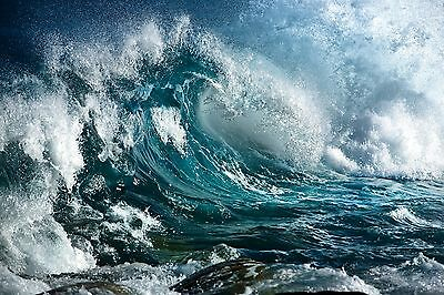 New Big Waves Crashing Ocean Sea Surf Beach Wall Art Photo Print  Premium Poster