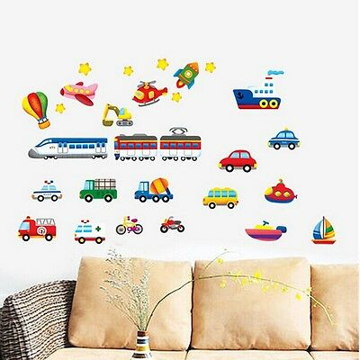 Car Train Boat Vehicles Vinyl Removable Wall Sticker Mural Kids Room Decor DIY