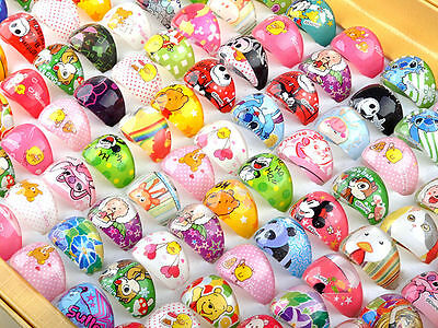 100pc Wholesale Mixed Lots Children/Kids Cartoon Resin Lucite Cute Rings Jewelry
