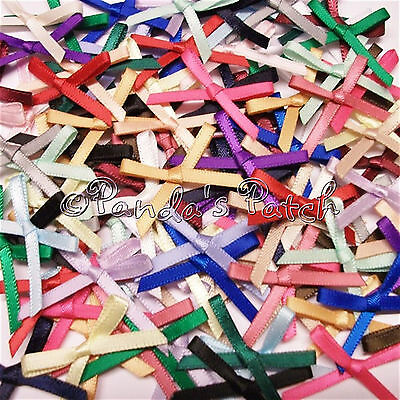 3mm Satin Ribbon Mini Bows 30pk 50pk or 100pk 24 Colours - Free UK Post