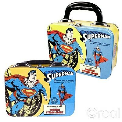 New DC Comics Flying Superman Metal Tin Tote Lunch Box Retro Classic Official