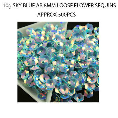 500pcs AB Sky Blue 8mm Flower Cup Loose Sequins Paillettes Sewing Crafts DIY