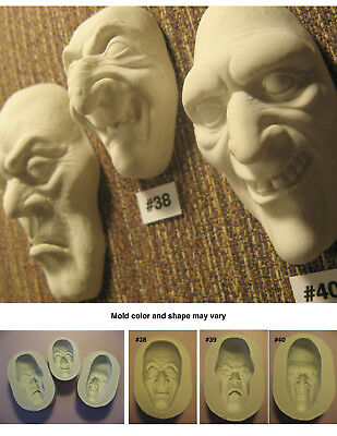 YOUR CHOICE - Flexible Silicone Molds of Doll Face Cabs - Witch, Ghoul, Zombie