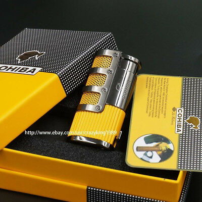 COHIBA Yellow Gridding Stripes 3 Torch Jet Flame Cigar Lighter With Cigar Punch