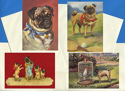 Pug Pack Of 4 Vintage Style Dog Print Greetings Note Cards #5