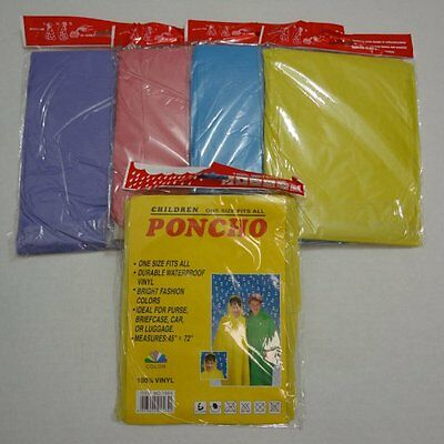"Children's Vinyl Rain Poncho Child's Kids available in 6 colors : 45"" x 72"""