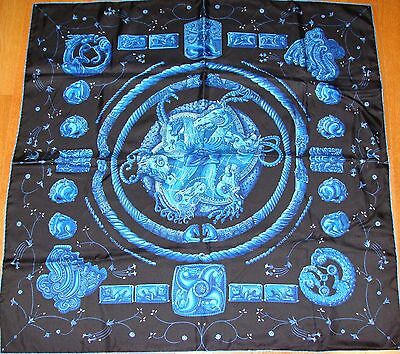 GENUINE AUTHENTIC HERMES Ors nomades  BLUE SILK SCARF MADE IN FRANCE