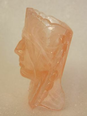 INDIAN HEAD glass TOOTHPICK holder CHIEF FACE kitchen WESTERN DECOR $9.95 no rsv