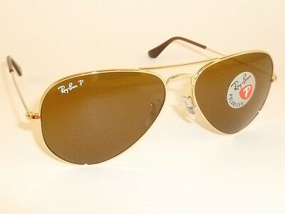 New  RAY BAN  Aviator  GLASS POLARIZED  Brown  RB 3025 001/57  Gold Frame  55mm