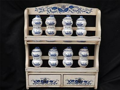 Vintage 3 Tier Blue Onion Spice Rack 10 Shakers  2 Drawers
