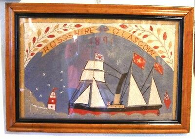 Rare Folk Art Scottish Sailors Wool Work, Woolie, C1891