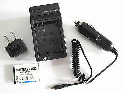 Battery + Charger for Nikon Coolpix S6000 S6100 S6150 S6200 S6300 Digital Camera