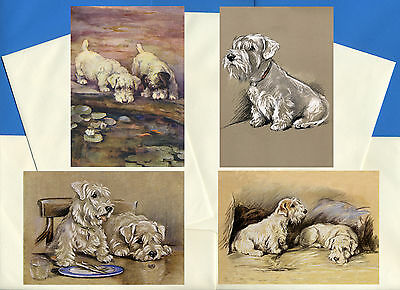 Sealyham Terrier Pack Of 4 Vintage Style Dog Print Greetings Note Cards