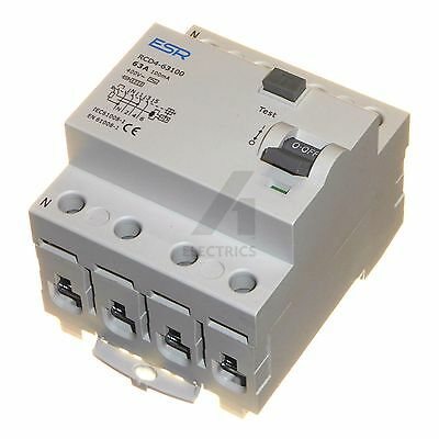 63A 80A 100mA RCD 4 pole trip safety switch RCCB 63 or 80 amp 3 phase TP&N new