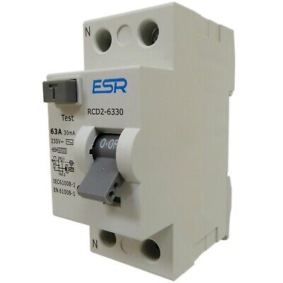 63 or 80 amp 30mA RCD RCCB trip switch double pole safety din rail 63A 80A NEW