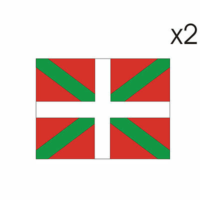 2 Stickers plastifiés DRAPEAU BASQUE - 5cm x 6,5cm
