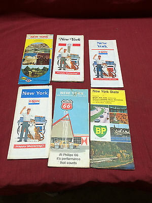 Lot of 6 Vintage Fair Cond. ESSO Sunoco Exxon BP 66 Gas Oil Maps NY New York