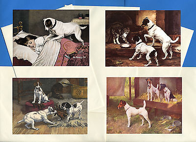 Smooth Fox Jack Russel Terrier 4 Vintage Style Dog Print Greetings Note Cards #3