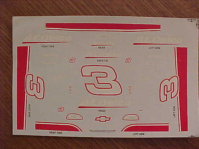 Brand New 1997 Dale Earnhardt #3 Ac Delco 1/24 Scale  Water Slide Decal Sheet