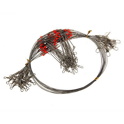 20X Wire Trace Leader Rig 2 Arm Fishing Rigs Tackle Lure Swivel Stainless Steel