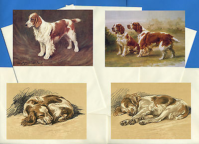 Welsh Springer Spaniel Pack Of 4 Vintage Style Dog Print Greetings Note Cards