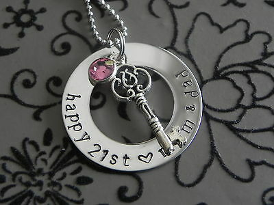 Personalised Stamped 32mm S/Steel 18th Birthday or 21st Birthday Pendant