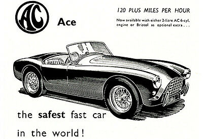 1958 AC Ace - The Safest Fast Car - Promotional Advertising Poster