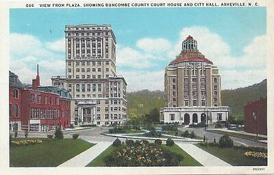 View from Plaza showing Buncombe Court House and City Hall, Asheville, N.C.
